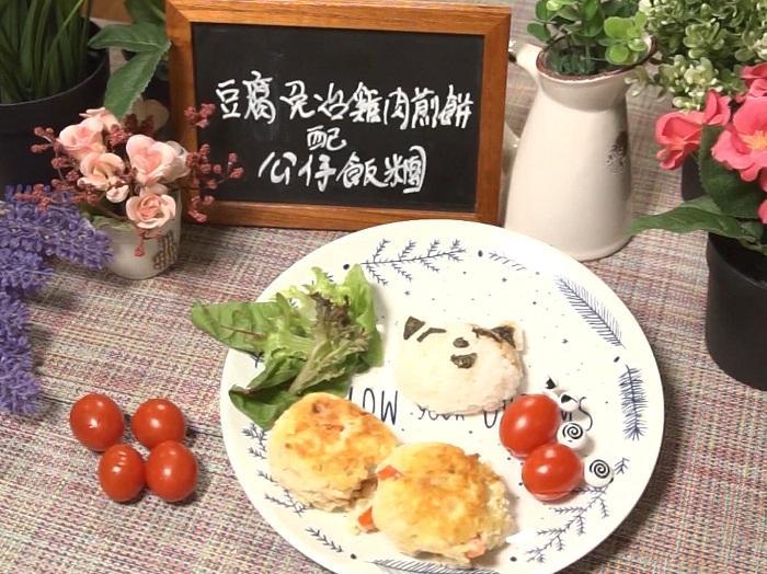 雞肉煎餅配飯團
