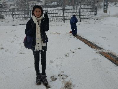 陳庭欣 北海道 大風雪中