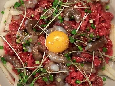 [食左飯未呀 Cookat] 拌生牛肉八爪魚