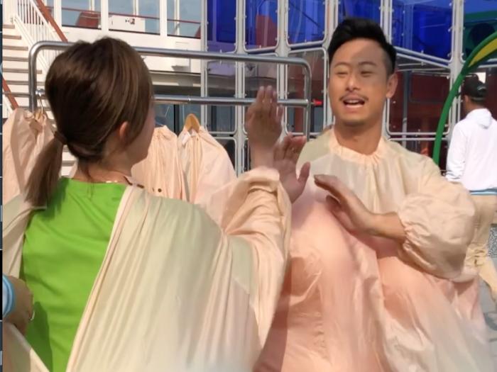 未曝光片段 潮凱x嘉欣 海上相撲挑戰賽前哨戰
