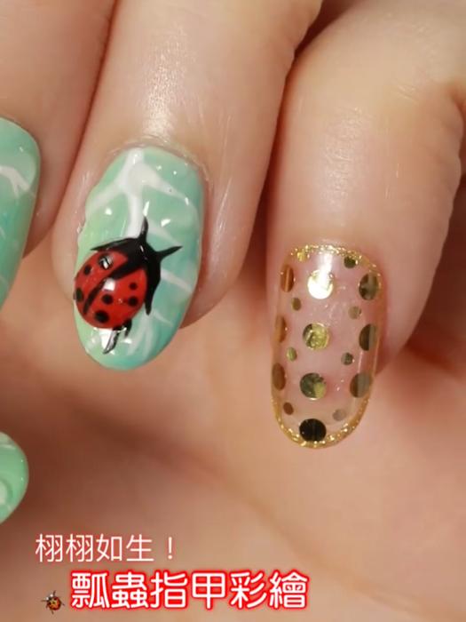 栩栩如生!瓢蟲指甲彩繪