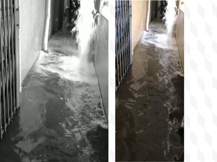屋邨走廊大水浸噴水幾尺高