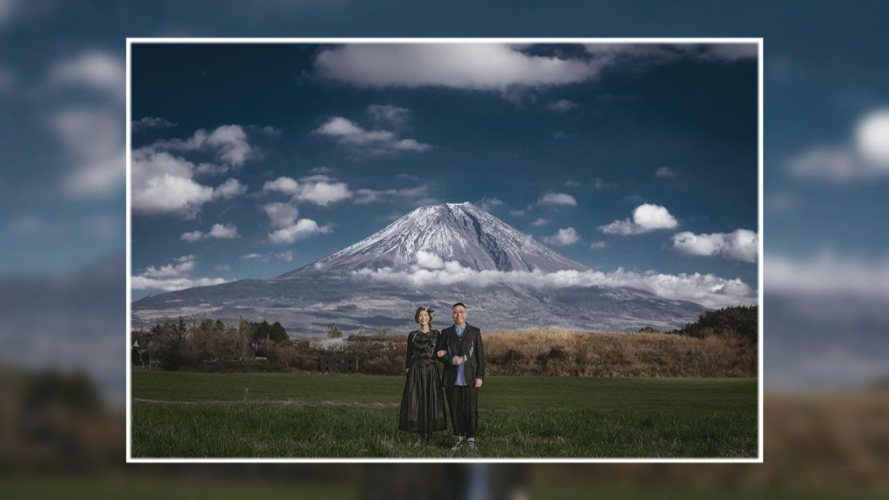 C君富士山下影婚照 為捕捉紅葉靚景遲遲未出發