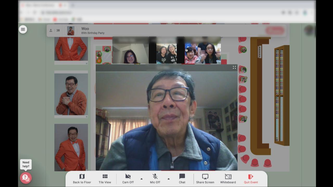 胡楓即將邁向九十歲大壽 獲家人搞網上驚喜生日會慶祝
